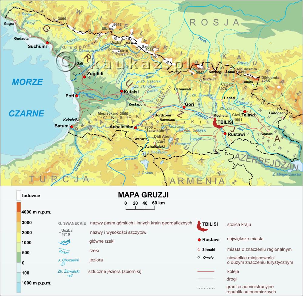 Zobacz mapę Gruzji w rozdzielczości 1000x976 pikseli