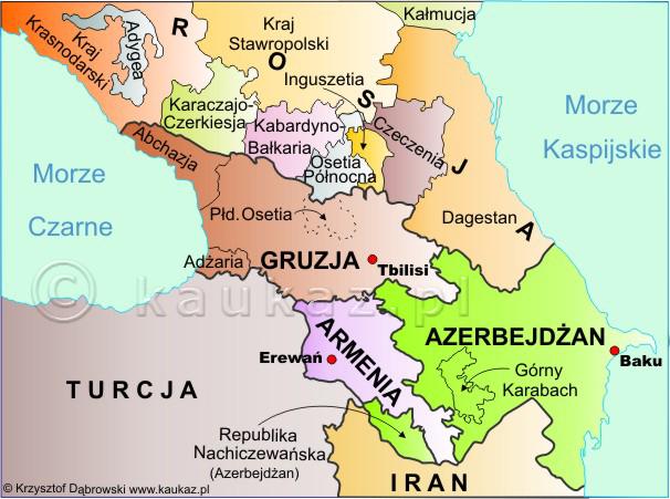 Polityczna Mapa Kaukazu Panstwa Regiony Republiki Autonomiczne